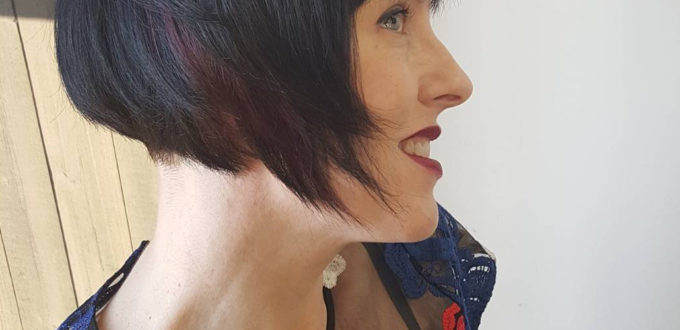 Darkest chocolate and wine red on a retro Bob! My favorite things! - Cindy Wade